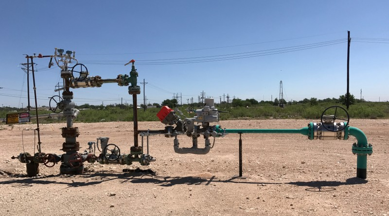 A wellhead is seen at an Occidental Petroleum Corp carbon dioxide enhanced oil recovery project in Hobbs