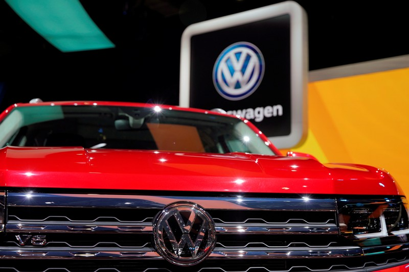 Volkswagen logo is seen on a Teramont X SUV displayed at the second media day for the Shanghai auto show in Shanghai