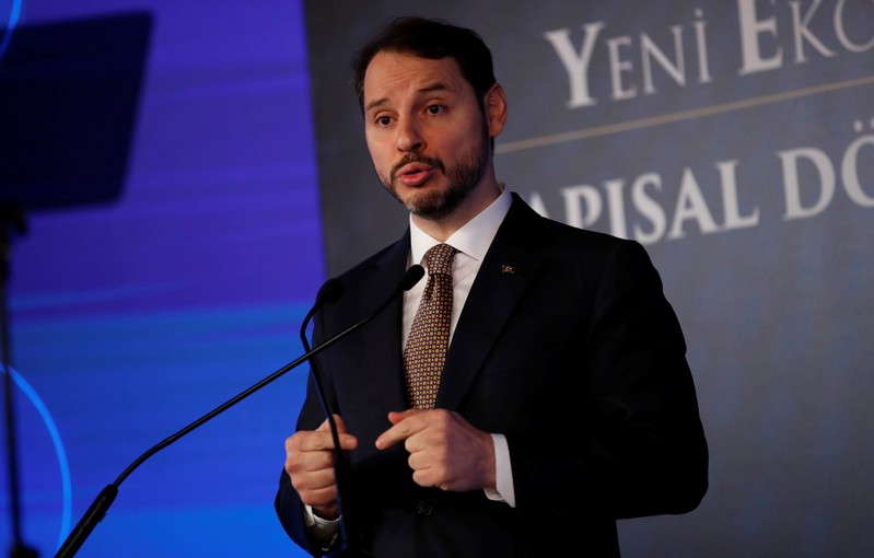 Turkish Treasury and Finance Minister Berat Albayrak attends a news conference in Istanbul