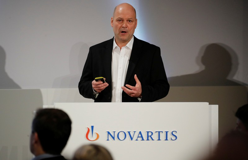 CFO Kirsch of Swiss drugmaker Novartis addresses the company's annual news conference in Basel