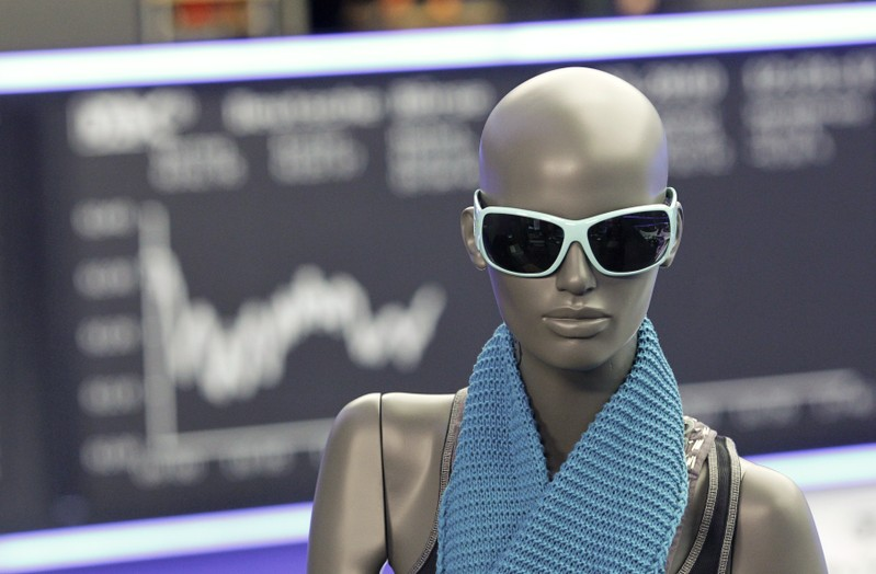 A window mannequin of German fashion concern Tom Tailor is pictured during the initial public offering at the Frankfurt stock exchange