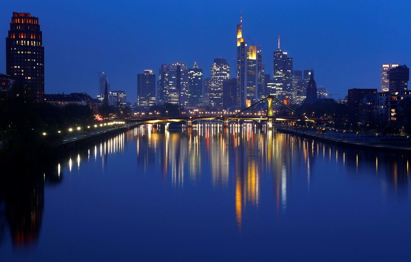 FILE PHOTO: The skyline of banking district is photographed in Frankfurt