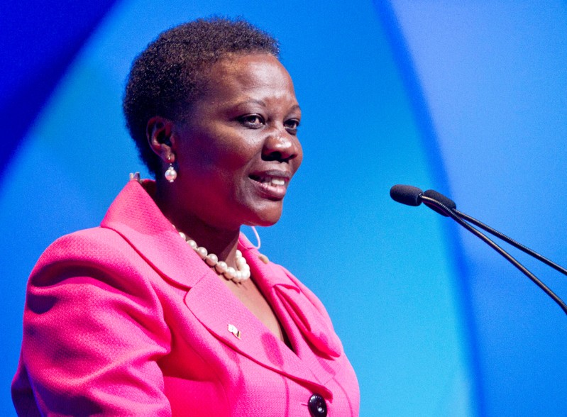 FILE PHOTO: Ugandan Minister for Energy and Minerals Muloni speaks during CERAWEEK in Houston