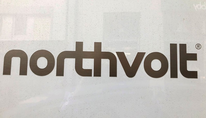 FILE PHOTO: Northvolt logo is pictured in the Northvolt office in Stockholm