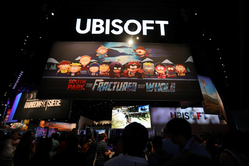 The Ubisoft booth is shown at the E3 2017 Electronic Entertainment Expo in Los Angeles