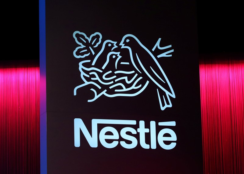 A logo is pictured during the 152nd Annual General Meeting of Nestle in Lausanne