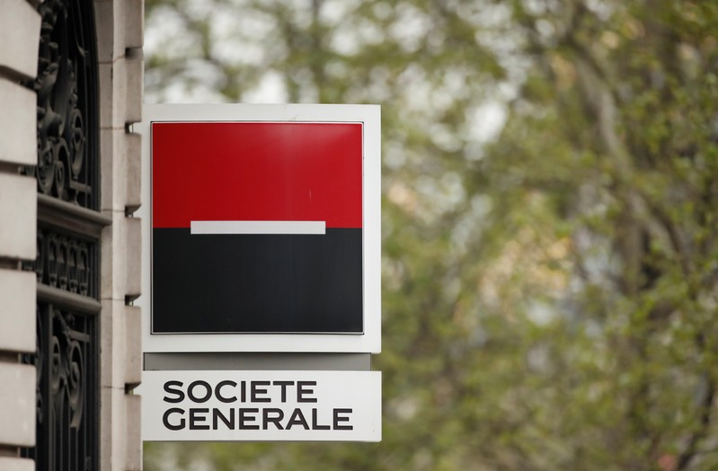 The logo of French bank Societe Generale is pictured at a bank buidling in Paris