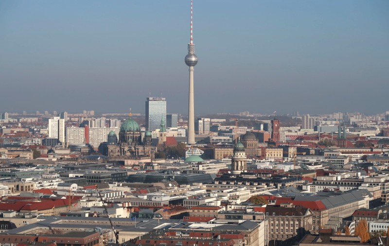 A general view shows the skyline of the city with the TV tower in Berlin
