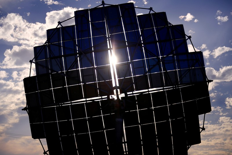 FILE PHOTO: A solar panel array can be seen at the Windorah Solar Farm, which was installed by Ergon Energy, near the town of Windorah in outback Queensland, Australia