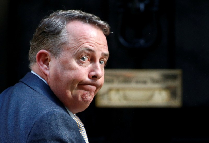 FILE PHOTO: Britain's Secretary of State for International Trade Liam Fox is seen outside Downing Street in London