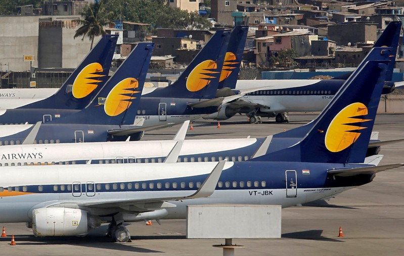 Jet Airways aircrafts are seen parked at the Chhatrapati Shivaji Maharaj International Airport in Mumbai