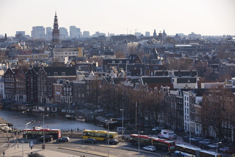 A rootop view of Amsterdam from SkyLounge on the 11th floor of the DoubleTree by Hilton Hotel in Amsterdam