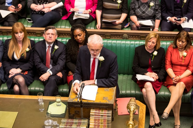 FILE PHOTO:  Britain's Labour Party leader Jeremy Corbyn speaks at the House of Commons in London