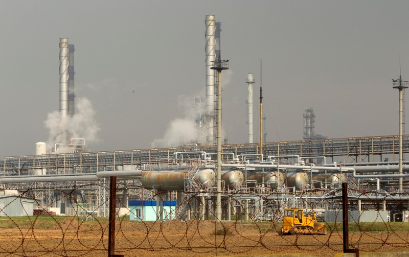 FILE PHOTO: An oil refinery located on a branch of the Druzhba oil pipeline, which moves crude through the pipeline westwards to Europe, is seen near Mozyr