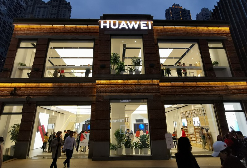 FILE PHOTO: Huawei store is seen at a commercial area in Wuhan, Hubei