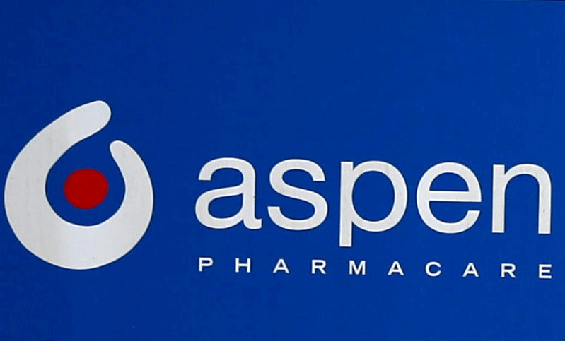 FILE PHOTO: An Aspen Pharmacare logo is seen at outside company offices in Woodmead