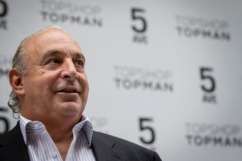 CEO Philip Green of Britain's retail clothing store Topshop poses before opening the chain's New York flagship store