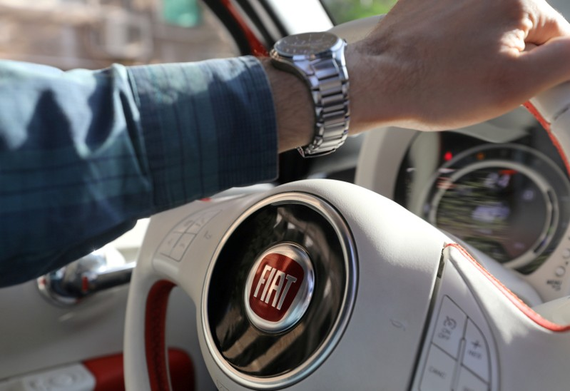 The logo of FIAT carmaker is seen on a steering wheel in Cairo