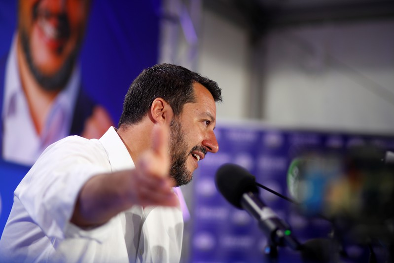 Deputy Prime Minister and League party leader Matteo Salvini speaks to the media at the League party headquarters in Milan