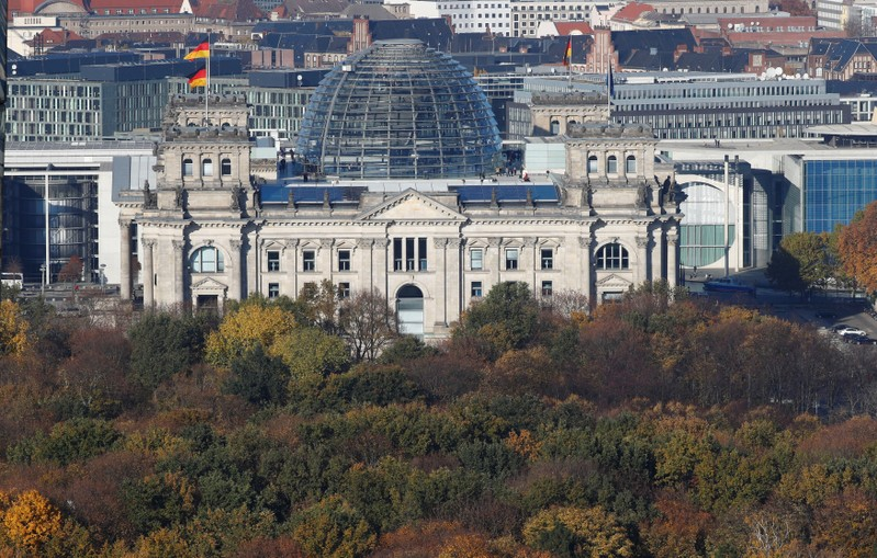 The Reichstag building, the seat of the German lower house of parliament Bundestag is pictured at the Tiergarten park with autumnal trees in Berlin