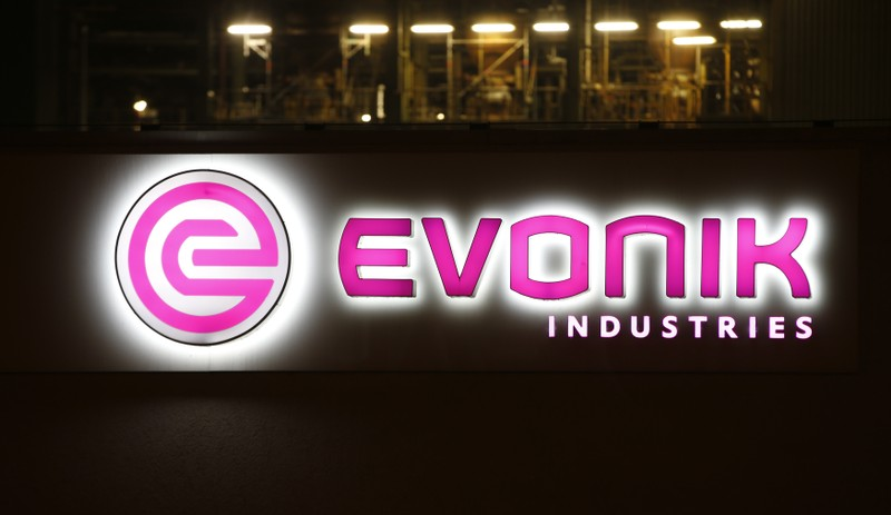 The logo of German specialty chemical company Evonik Industries AG is pictured at their plant in Bitterfeld