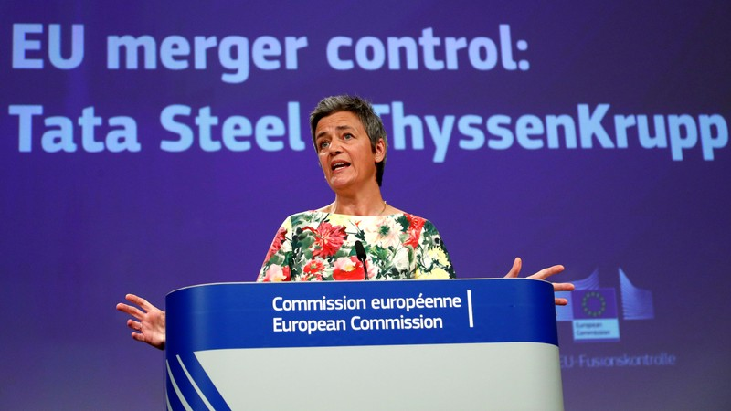 EU Competition Commissioner Vestager addresses a news conference in Brussels