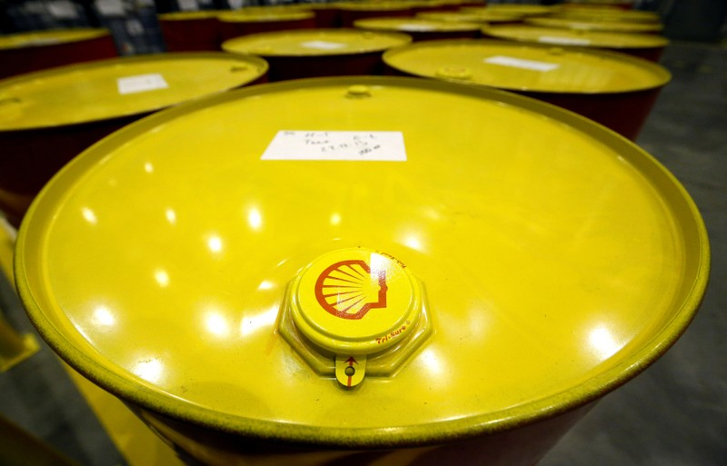 Filled oil drums are seen at Royal Dutch Shell Plc's lubricants blending plant in the town of Torzhok, Russia