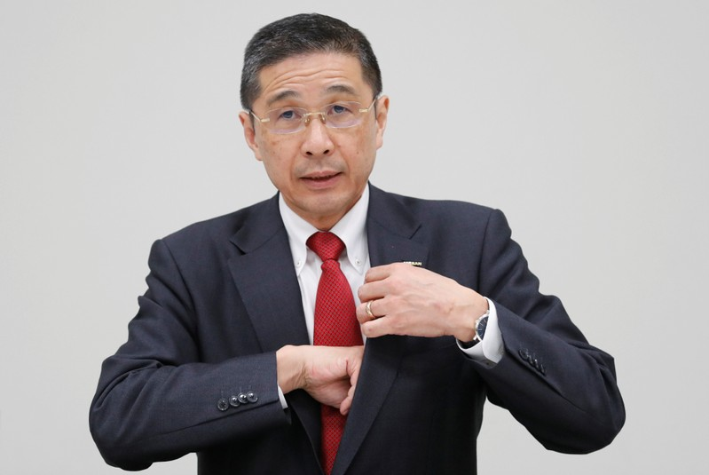 Nissan President and CEO Hiroto Saikawa attends a news conference at its global headquarters building in Yokohama