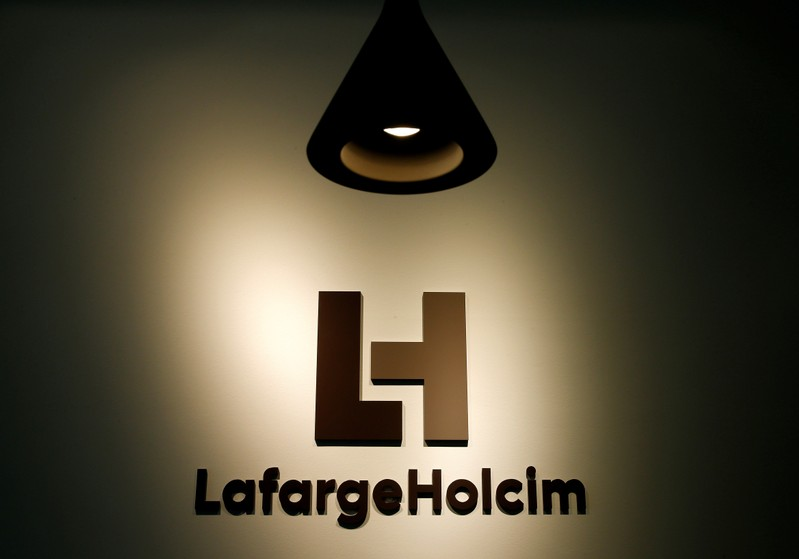 FILE PHOTO: The company's new logo is pictured at the headquarters of LafargeHolcim in Zurich
