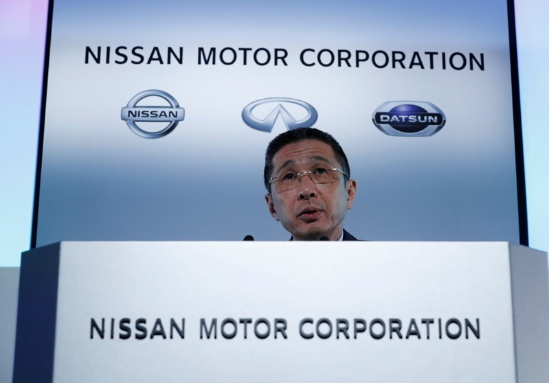 FILE PHOTO: Nissan CEO Hiroto Saikawa attends a news conference in Yokohama