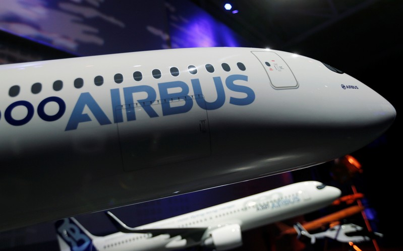 The Airbus logo is pictured on a scale model of an Airbus A350 as Airbus announces annual results in Blagnac