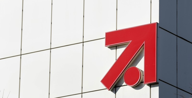 The logo of Germany's commercial broadcaster ProSiebenSat.1 Media AG is pictured at their headquarters in Unterfoehring