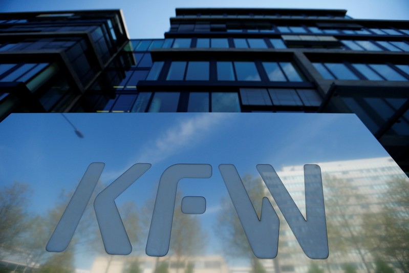 The logo of KfW Bank is pictured at the bank's headquarters in Frankfurt