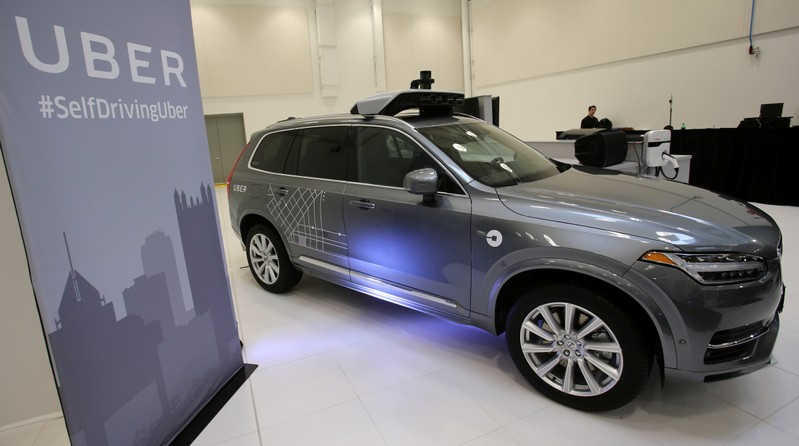 Uber's Volvo XC90 self driving car is shown during a demonstration of self-driving automotive technology in Pittsburgh