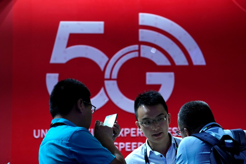 A sign advertising 5G is seen at CES (Consumer Electronics Show) Asia 2019 in Shanghai