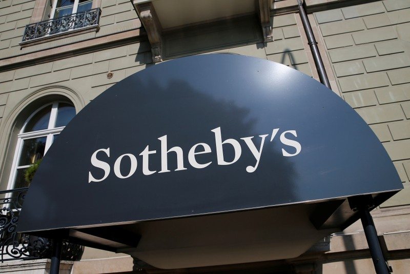 A logo is pictured outside Sotheby's auction house in Geneva in Geneva