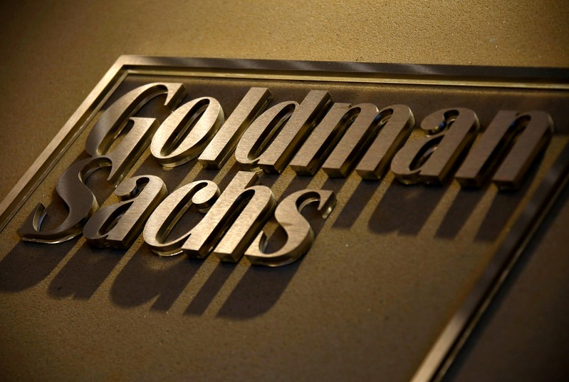 FILE PHOTO: A sign is displayed in the reception of the Sydney offices of Goldman Sachs in Australia