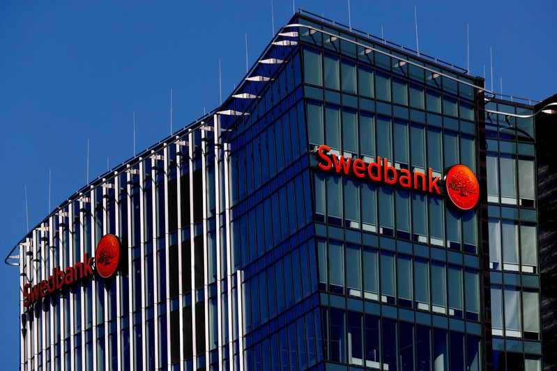 FILE PHOTO: Swedbank signs on a building in Vilnius