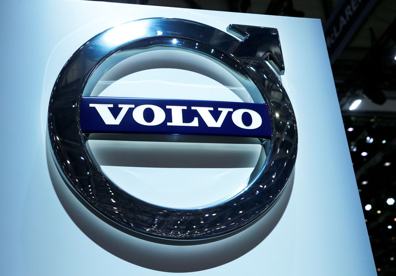 FILE PHOTO: A Volvo logo is pictured on the stand during the 87th International Motor Show at Palexpo in Geneva
