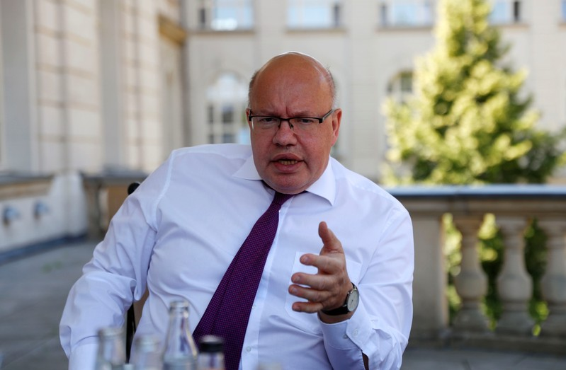 German Economy Minister Peter Altmaier is pictured during an interview with Reuters in his ministry building in Berlin