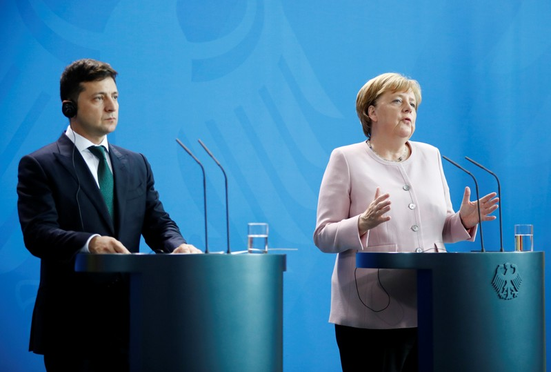 German Chancellor Merkel and Ukrainian President Zelenskiy at the Chancellery in Berlin
