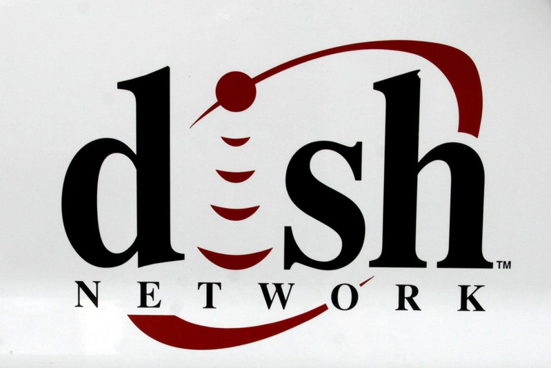 The Dish Network logo is seen on the side of an installer truck in Denver
