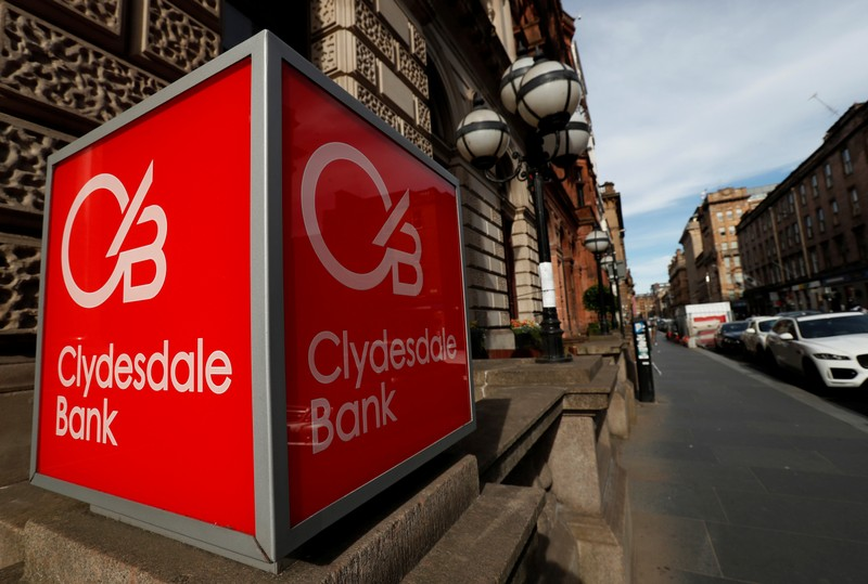 The Clydesdale Bank logo is seen in St Vincent Place Glasgow, Scotland