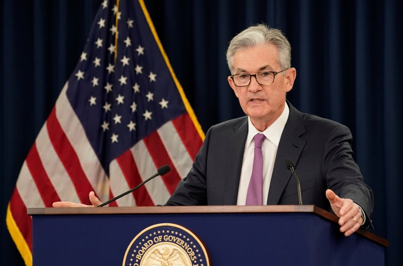 Federal Reserve Chairman Jerome Powell holds a news conference following a two-day Federal Open Market Committee meeting in Washington