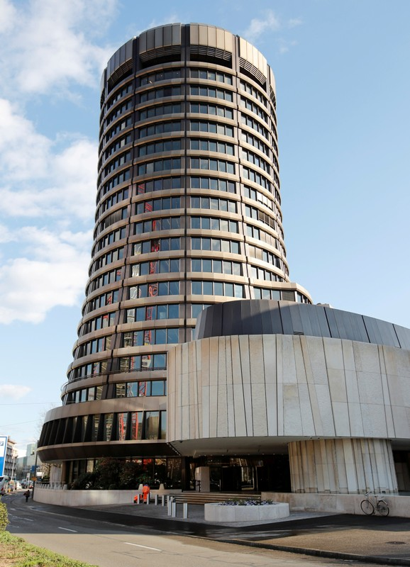 FILE PHOTO: The headquarters of the Bank for International Settlements are seen in Basel