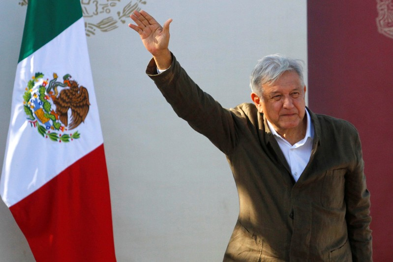 FILE PHOTO: Mexico's President Obrador takes part in a
