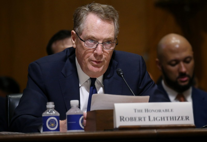 U.S. Trade Representative Lighthizer testifies before a Senate Finance Committee hearing in Washington