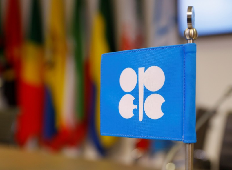 The logo of the Organization of the Petroleum Exporting Countries (OPEC) is seen inside their headquarters in Vienna