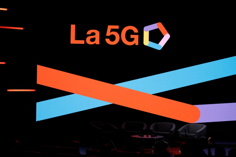 A 5G sign is pictured at the Orange Business Summit in Paris