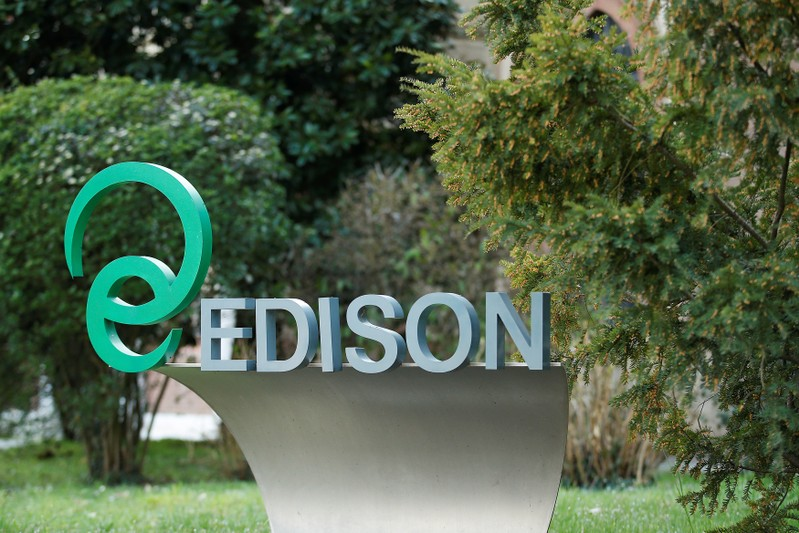 FILE PHOTO: The Edison Company logo is seen at the hydroelectric power plant